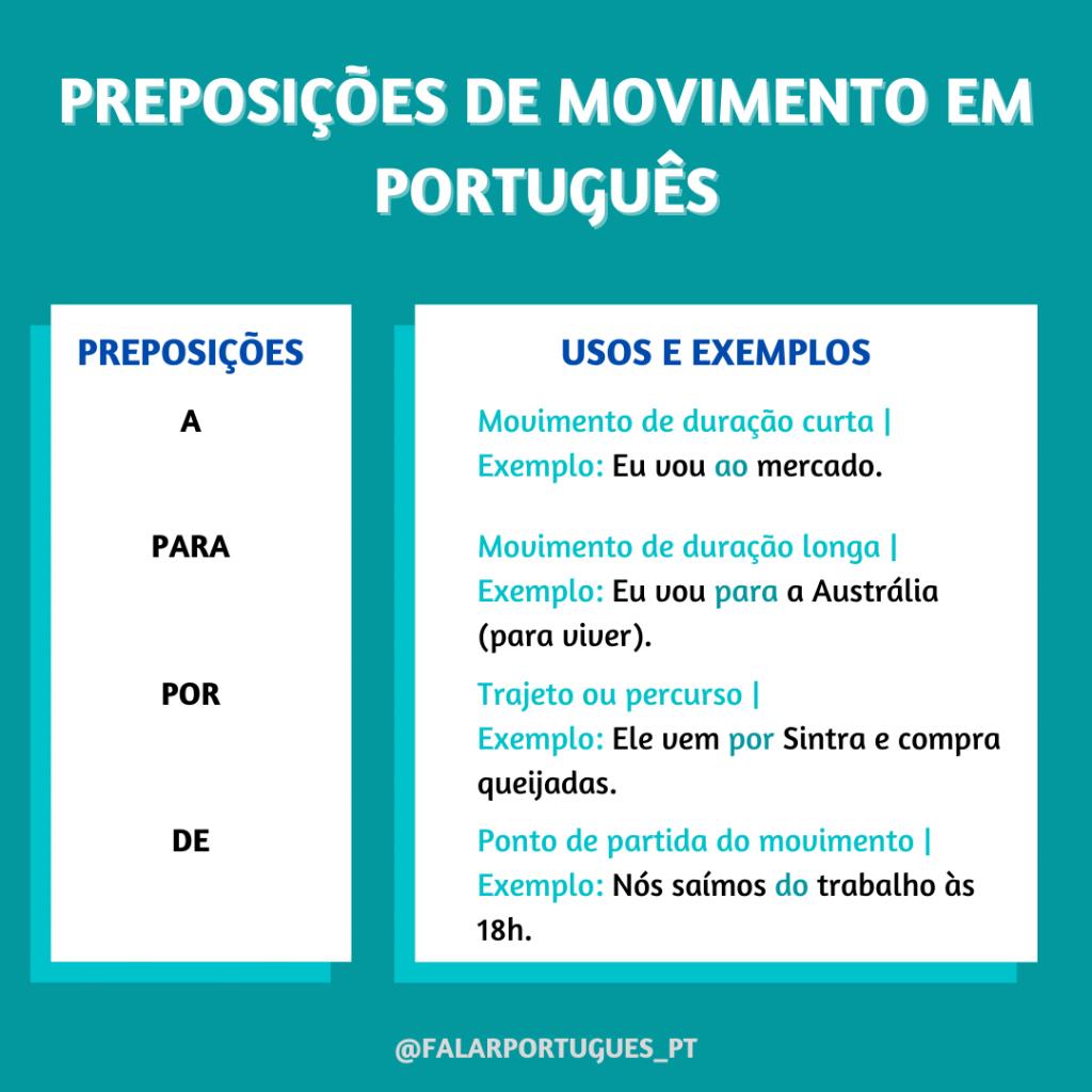preposições de movimento em português